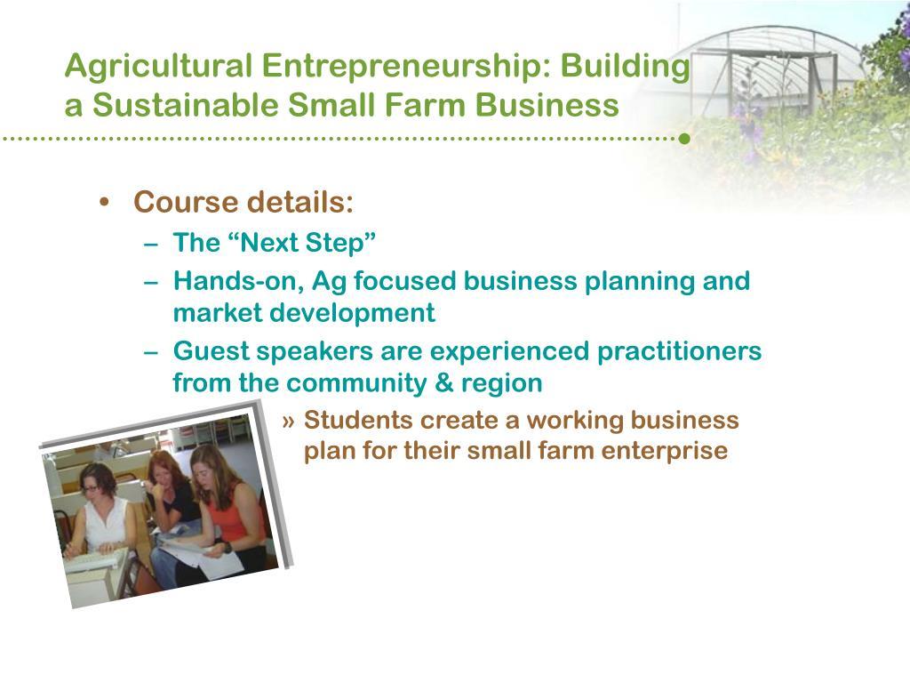 Agricultural Entrepreneurship: Building