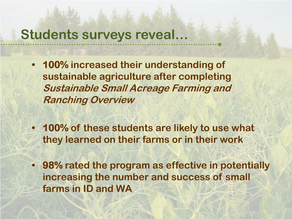 Students surveys reveal…