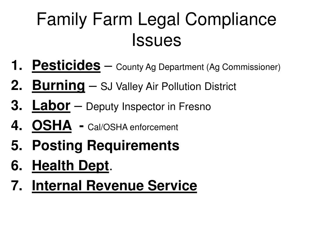 Family Farm Legal Compliance Issues