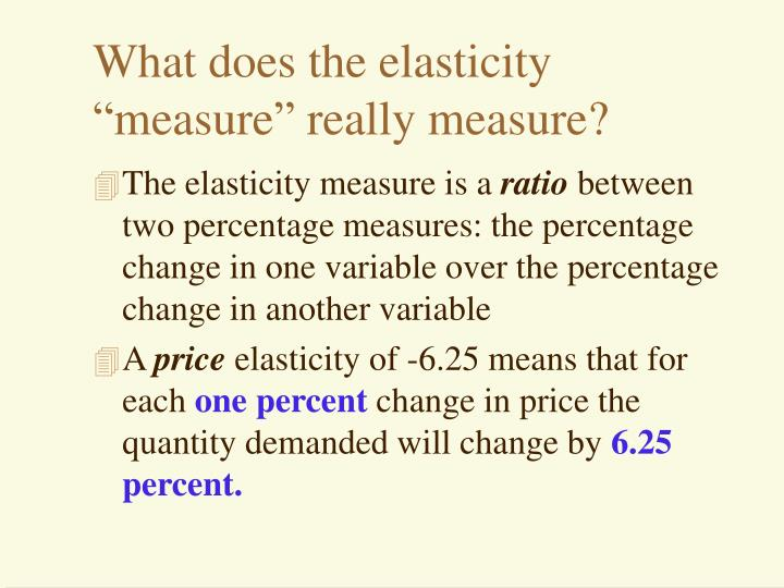 "What does the elasticity ""measure"" really measure?"
