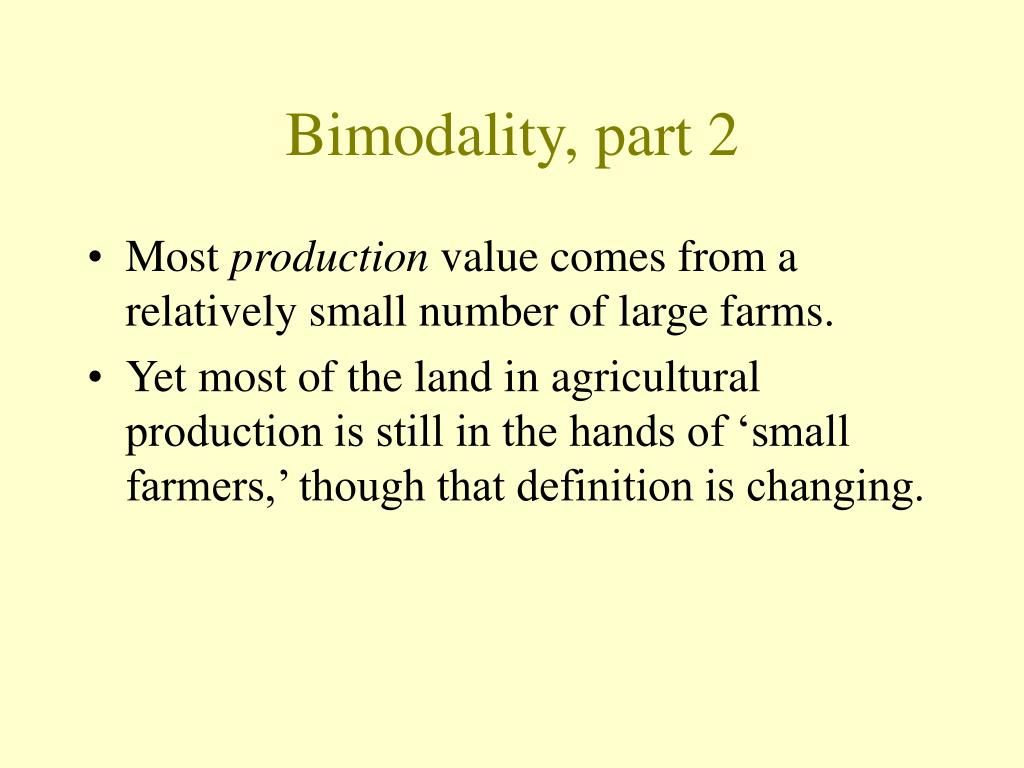 Bimodality, part 2