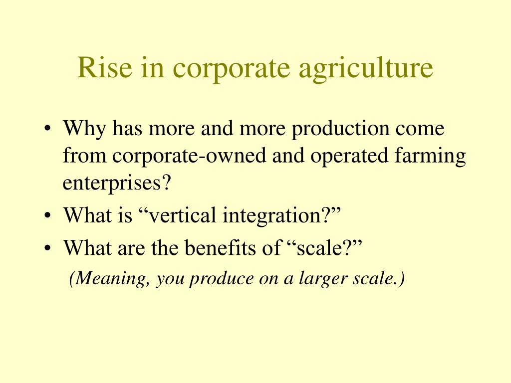 Rise in corporate agriculture