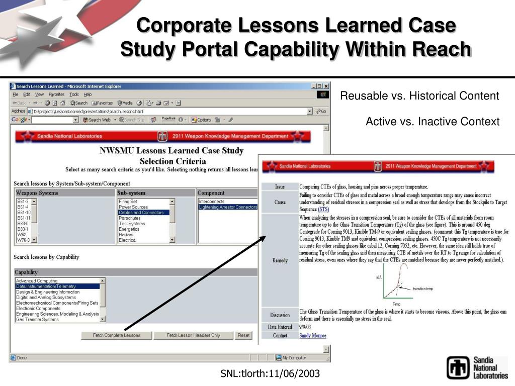 Corporate Lessons Learned Case