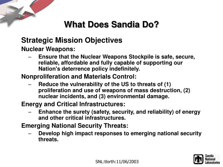 What does sandia do