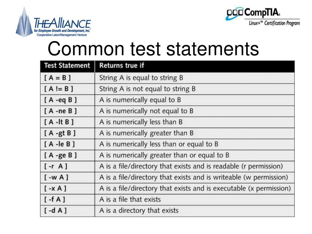 Common test statements