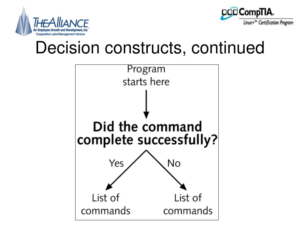 Decision constructs, continued