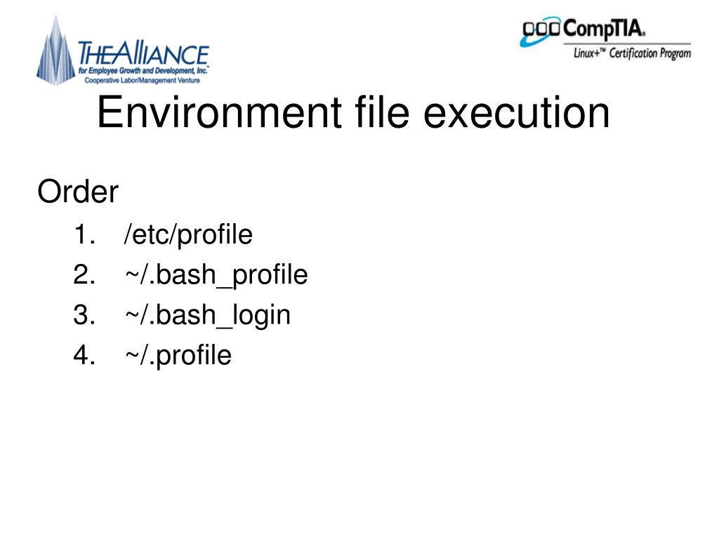 Environment file execution