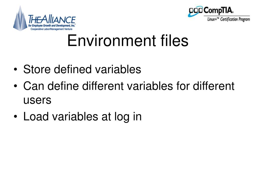 Environment files