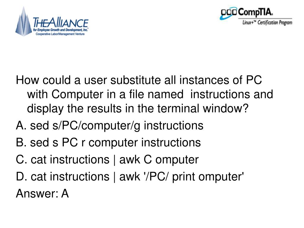 How could a user substitute all instances of PC with Computer in a file named  instructions and display the results in the terminal window?