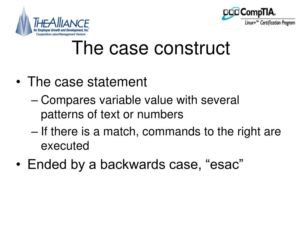 The case construct