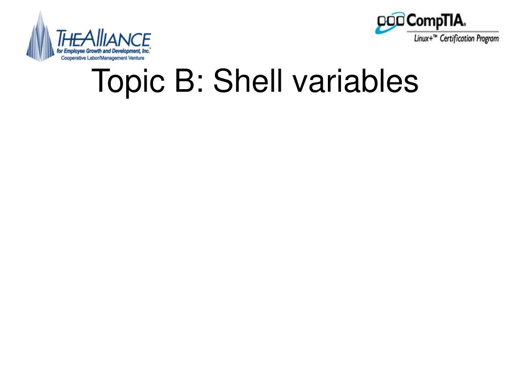 Topic B: Shell variables