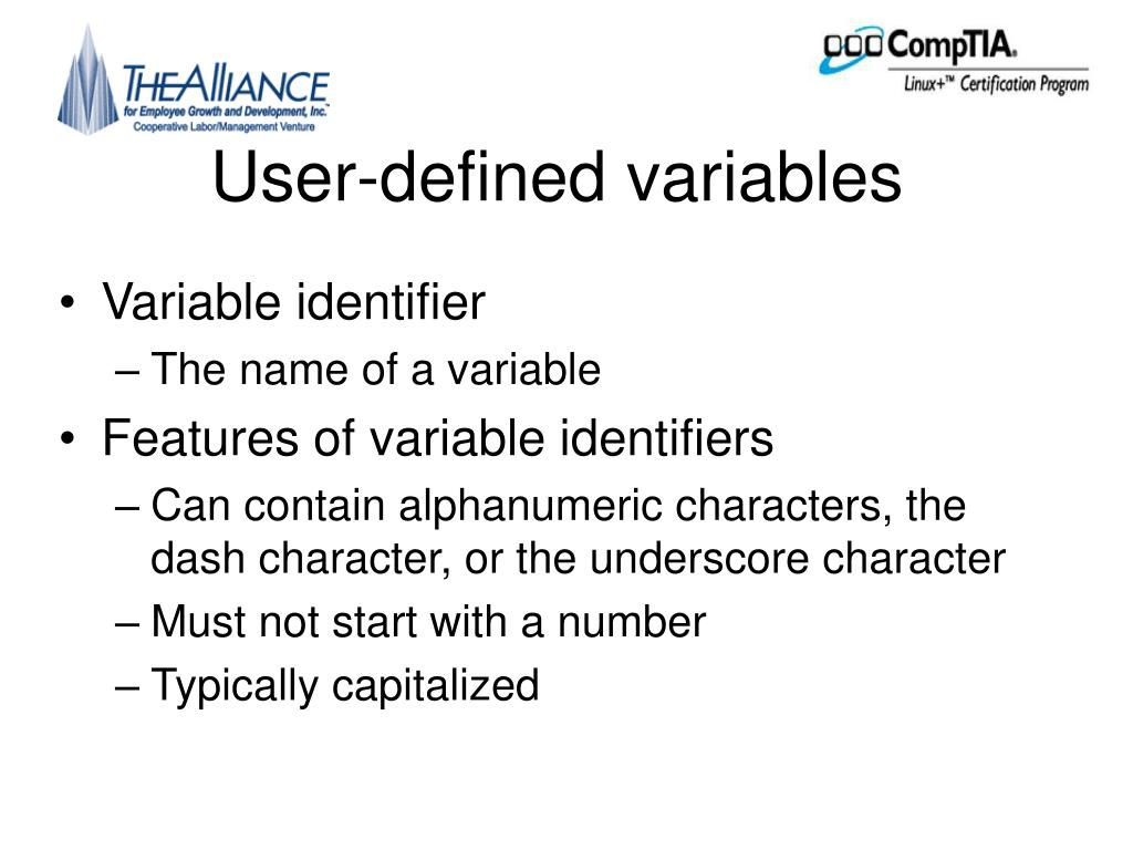 User-defined variables
