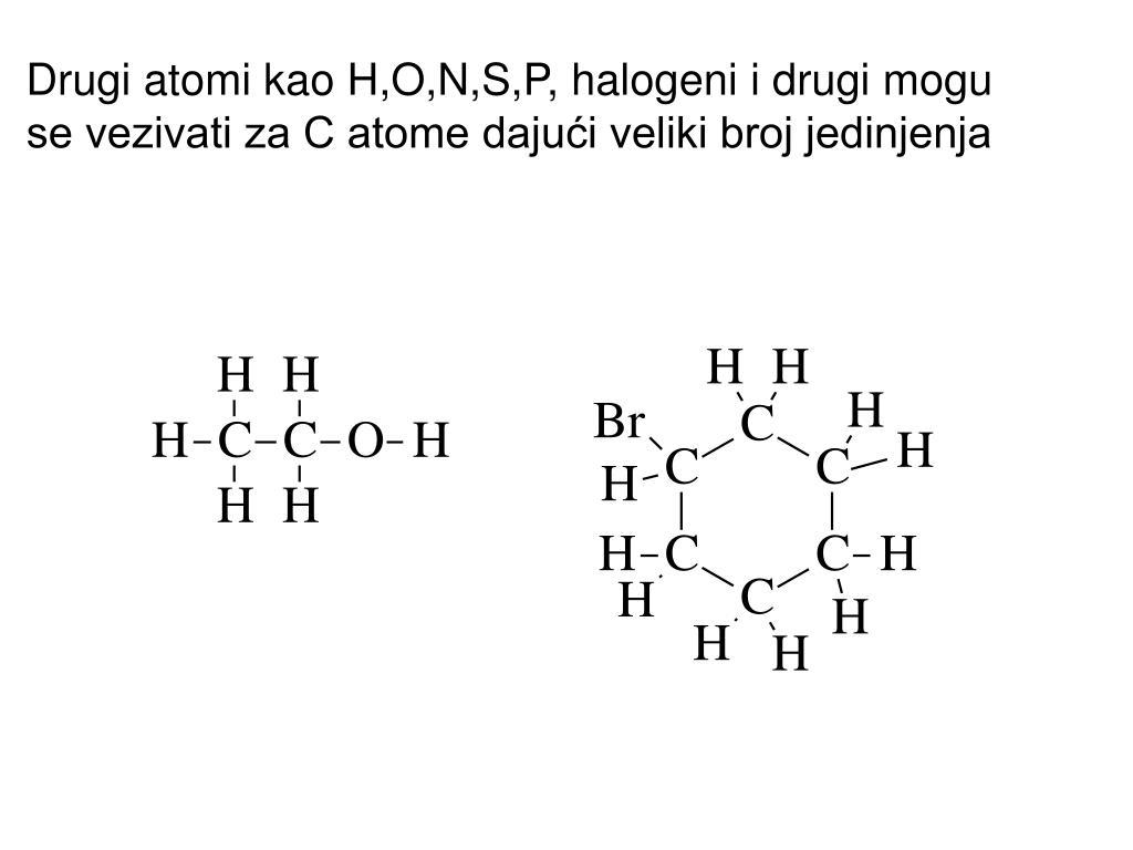 Drugi atomi kao H,O,N,S,P, halogeni i drugi mogu se vezivati za C atome dajući veliki broj jedinjenja