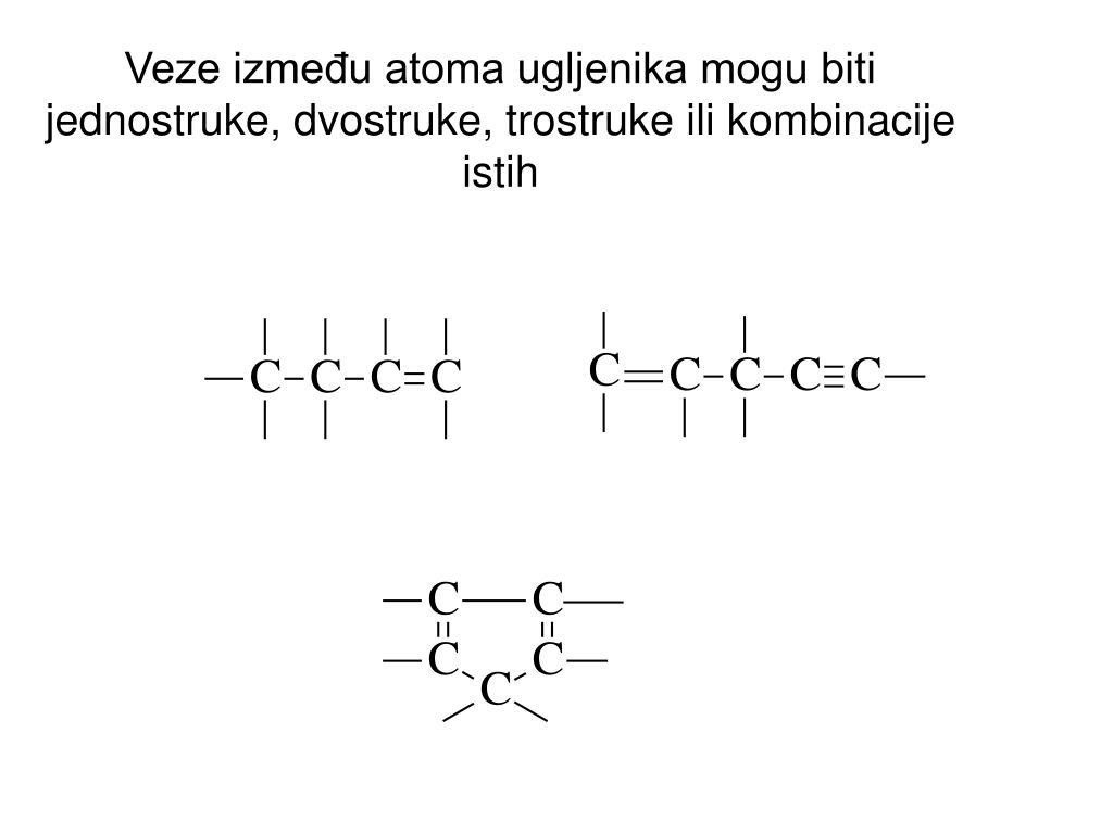 Veze između atoma ugljenika mogu biti jednostruke, dvostruke, trostruke ili kombinacije istih