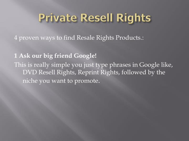 Private resell rights2
