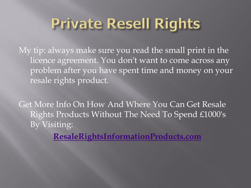 Private Resell Rights