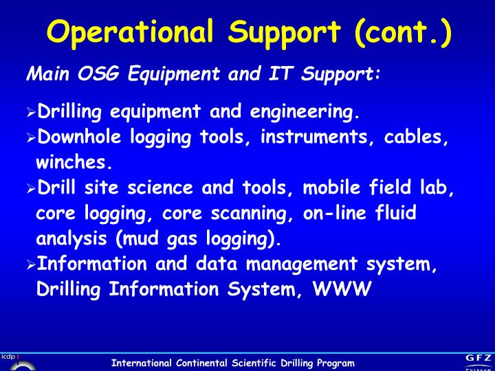 Operational Support (cont.)