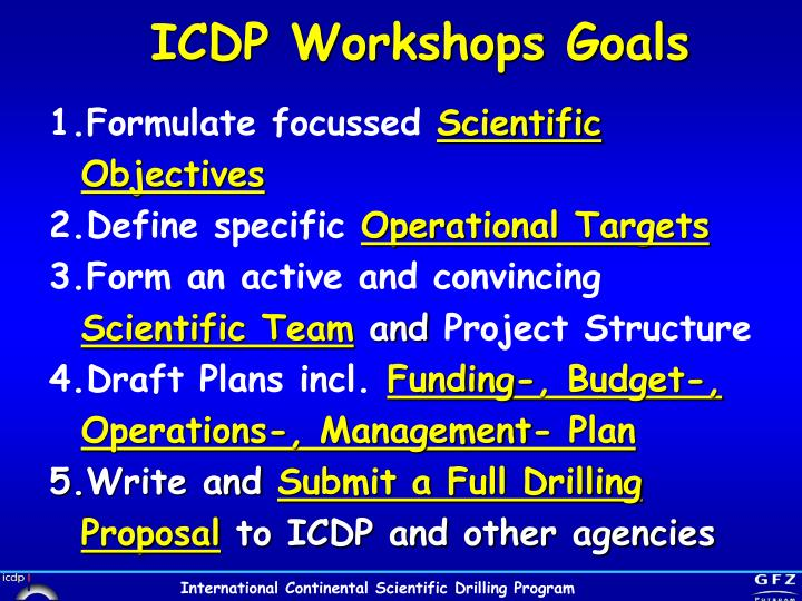 ICDP Workshops Goals