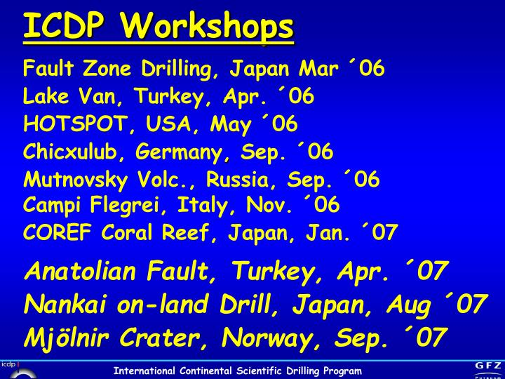 ICDP Workshops