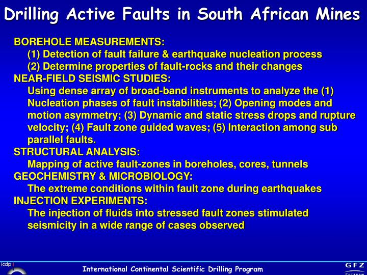 Drilling Active Faults in South African Mines