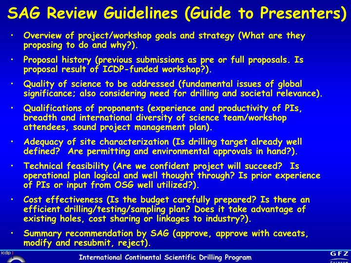 SAG Review Guidelines (Guide to Presenters)
