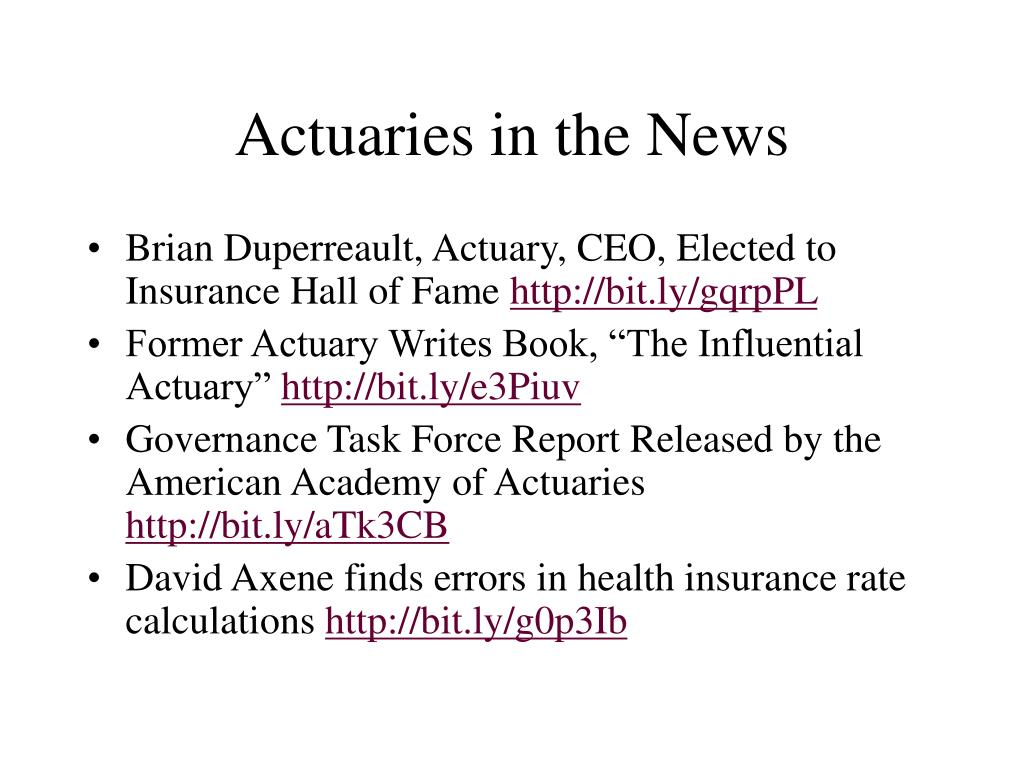 Actuaries in the News