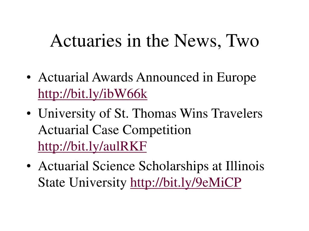 Actuaries in the News, Two