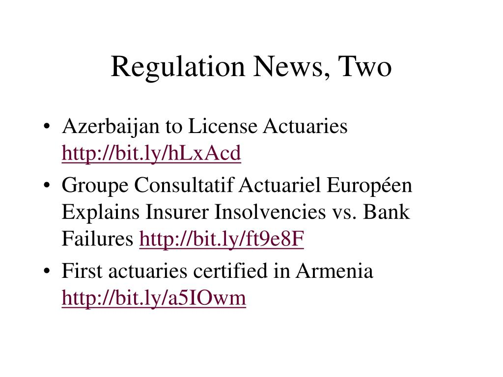 Regulation News, Two