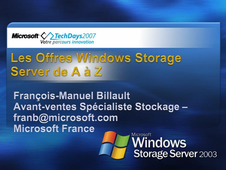 Les offres windows storage server de a z