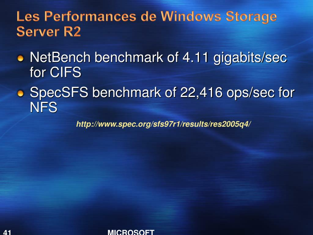 Les Performances de Windows Storage Server R2