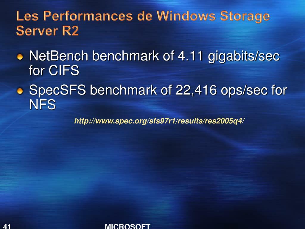 Les Performances de Windows Storage Server R2