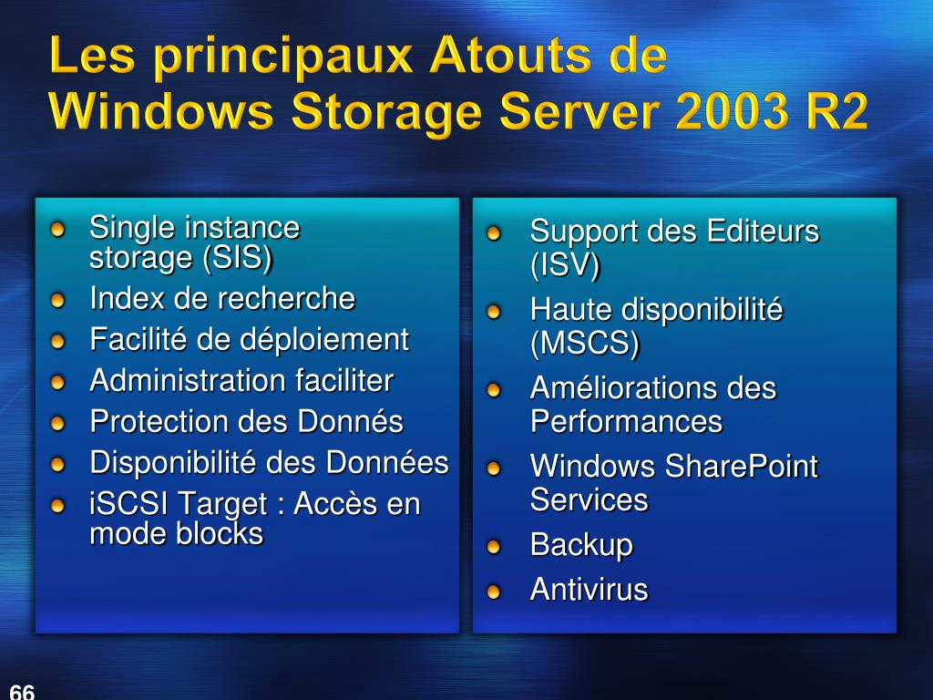 Les principaux Atouts de Windows Storage Server 2003 R2