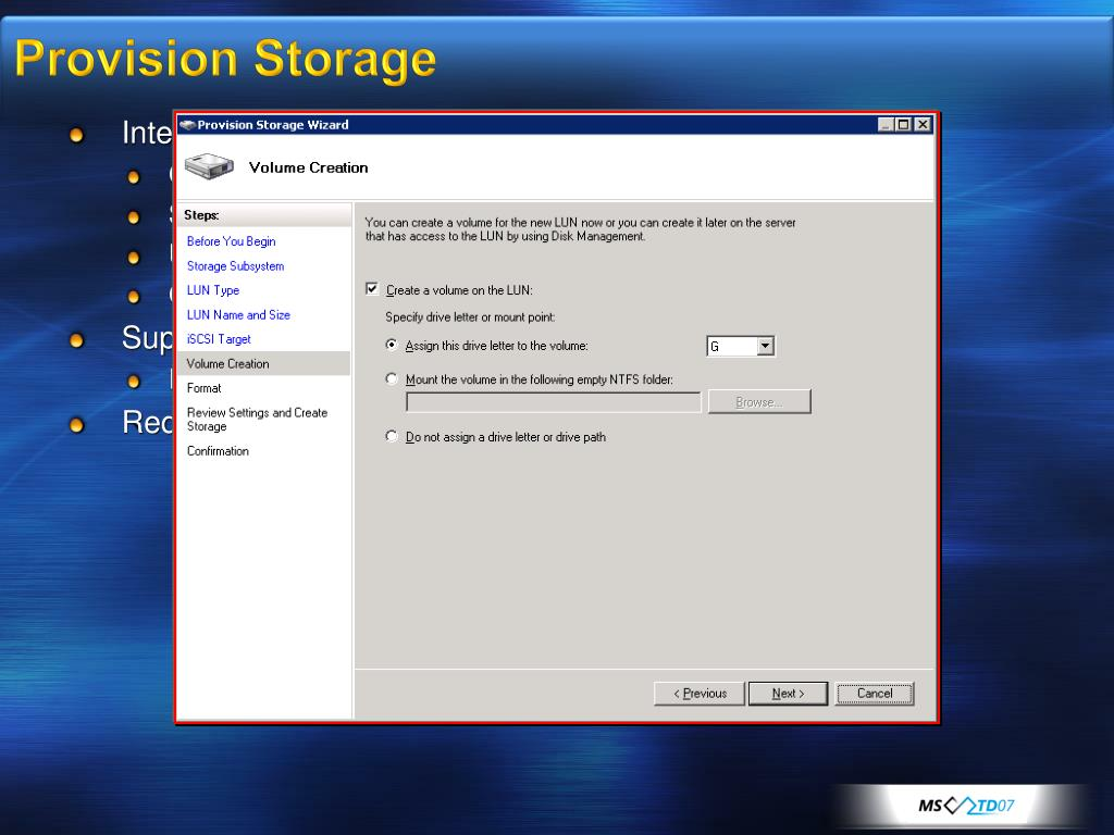 Provision Storage