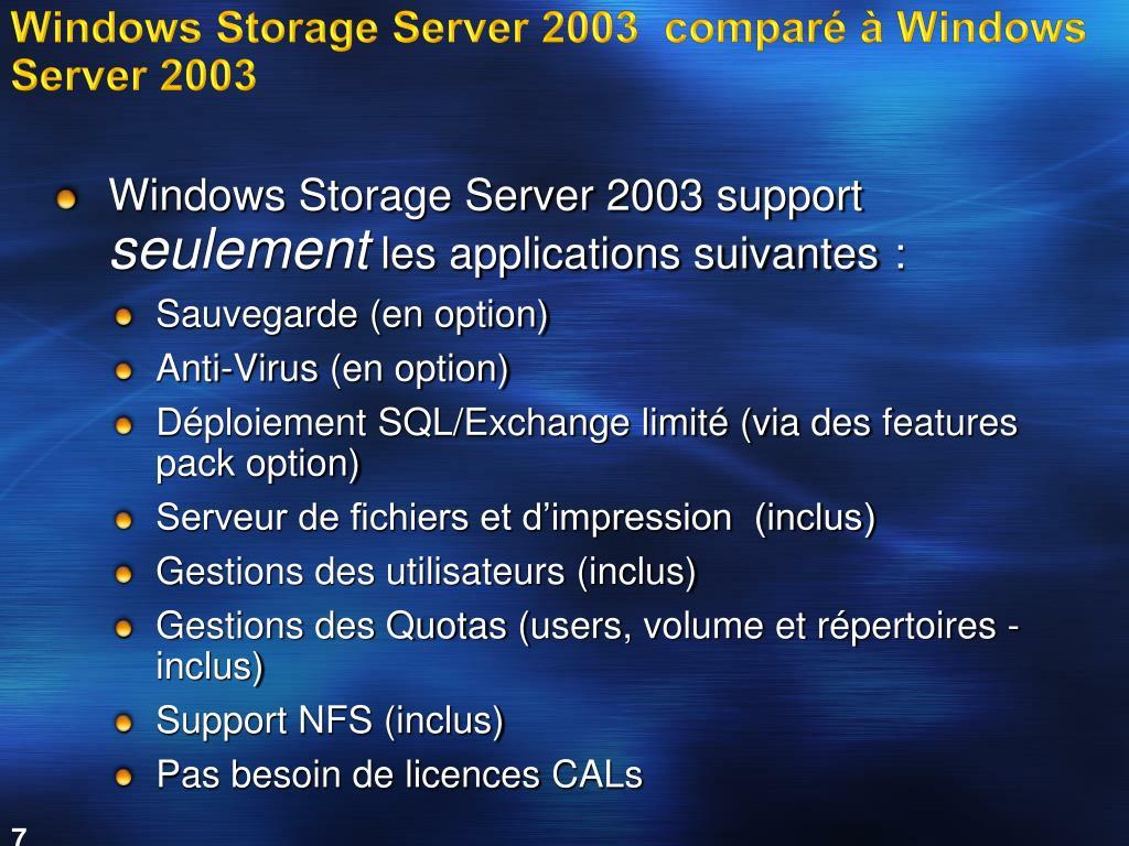 Windows Storage Server 2003  comparé à Windows Server 2003