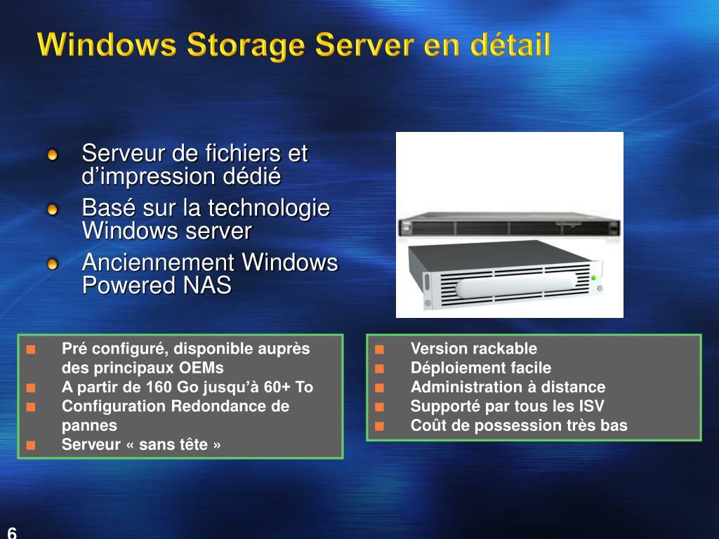 Windows Storage Server en détail