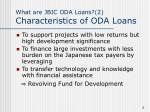what are jbic oda loans 2 characteristics of oda loans