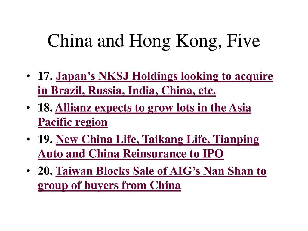 China and Hong Kong, Five