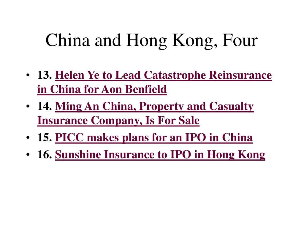 China and Hong Kong, Four