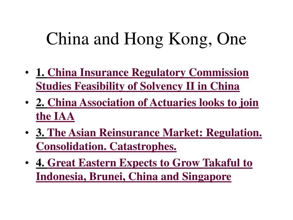China and Hong Kong, One