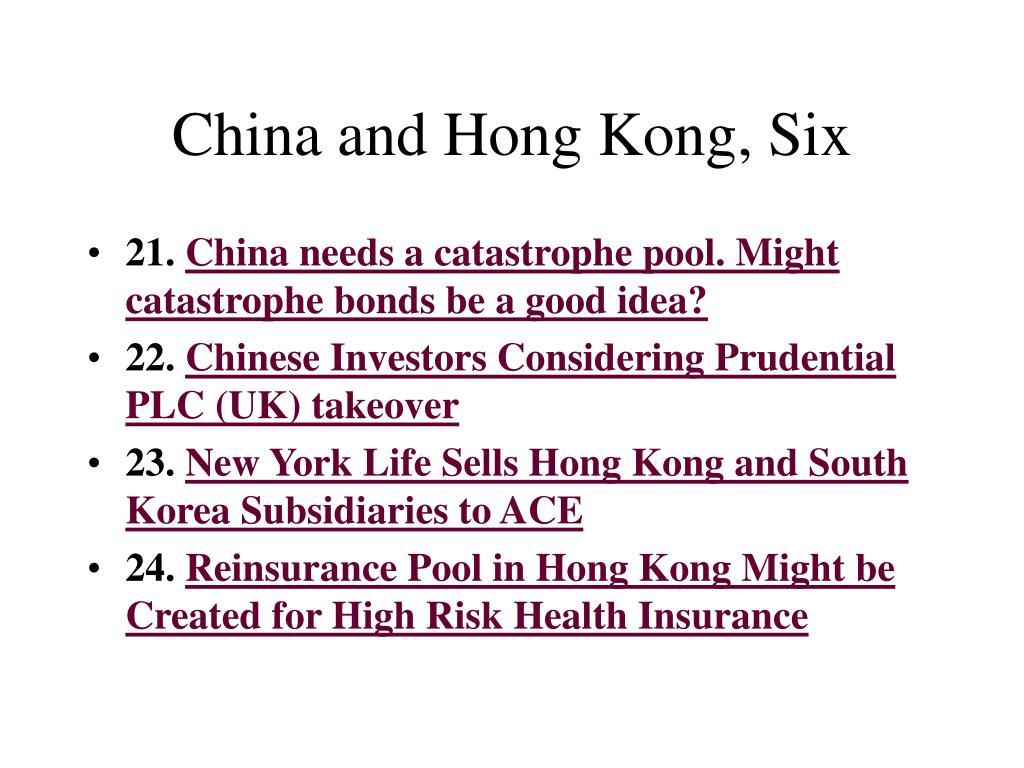 China and Hong Kong, Six