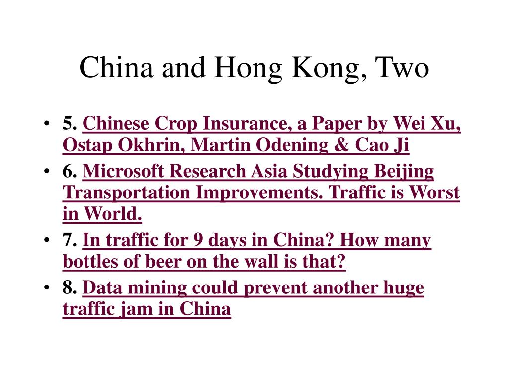 China and Hong Kong, Two