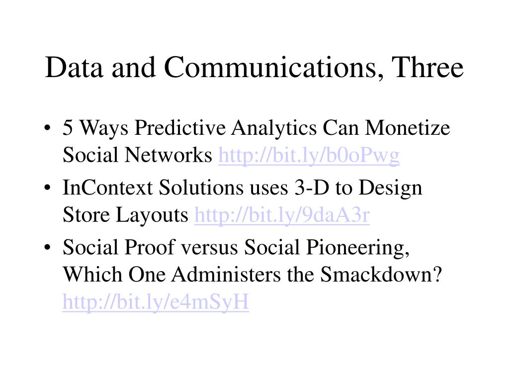 Data and Communications, Three