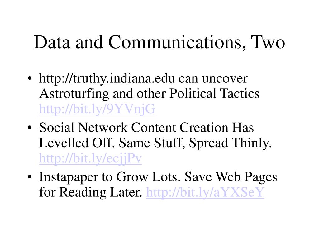 Data and Communications, Two