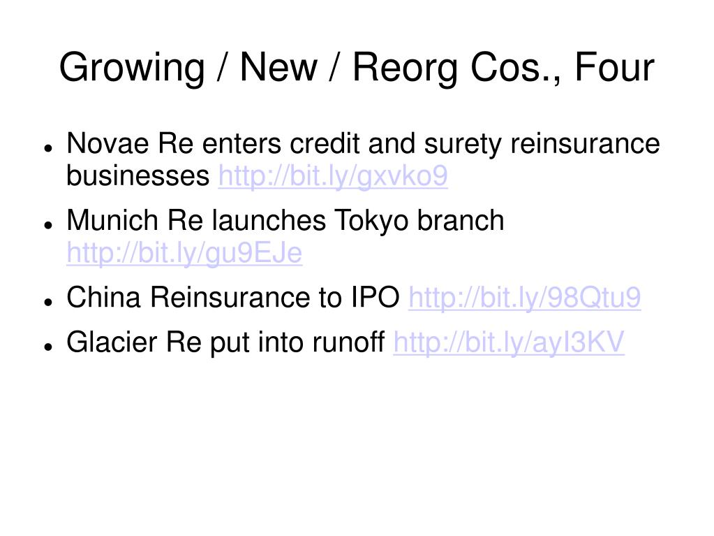 Growing / New / Reorg Cos., Four