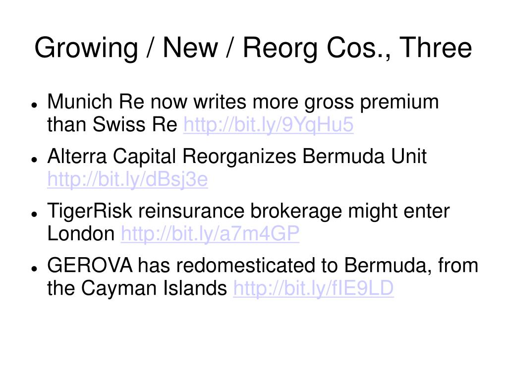 Growing / New / Reorg Cos., Three