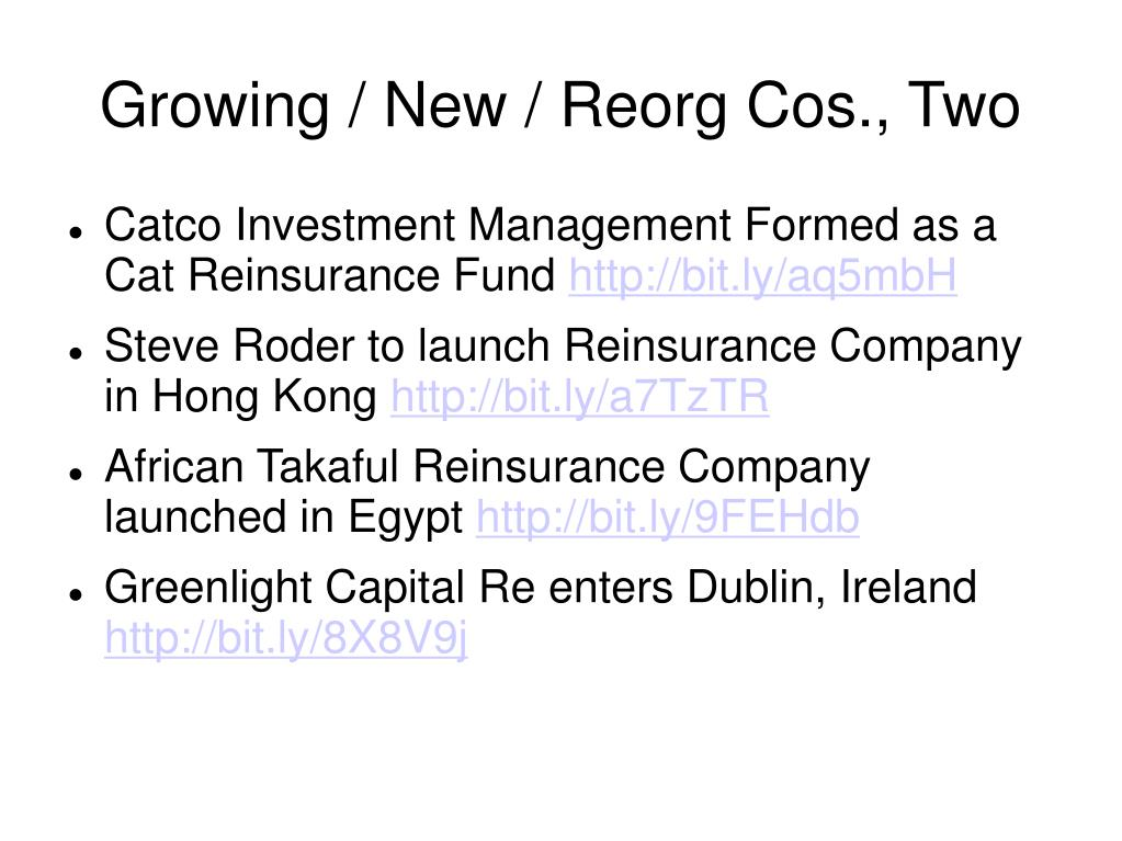 Growing / New / Reorg Cos., Two