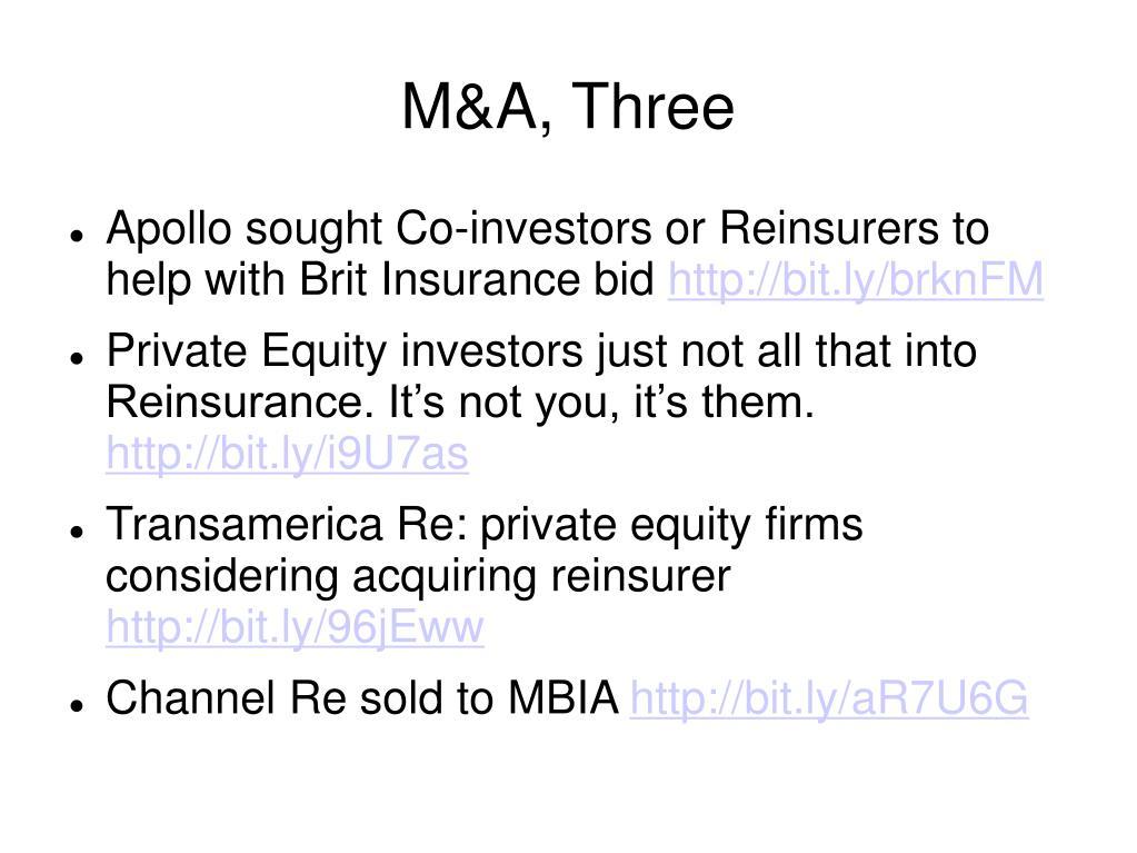 M&A, Three