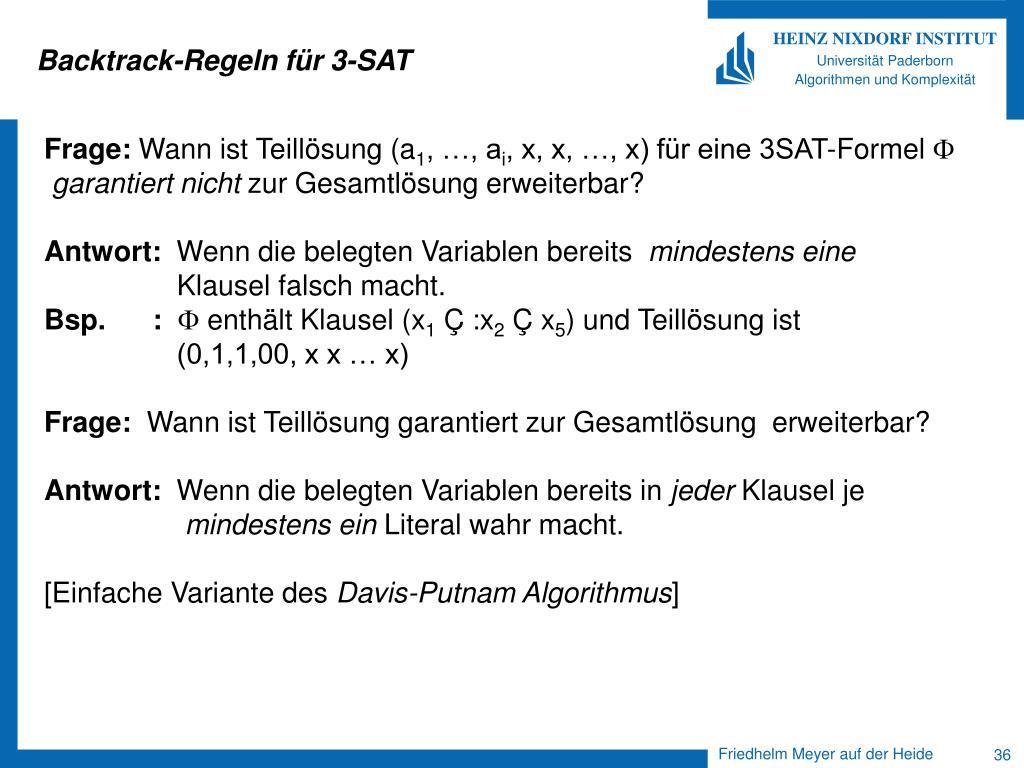 Backtrack-Regeln für 3-SAT