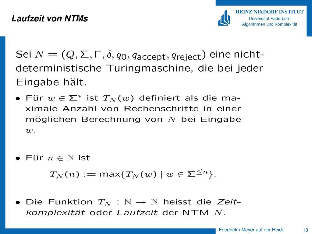 Laufzeit von NTMs