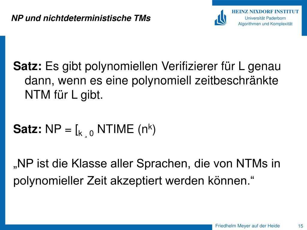NP und nichtdeterministische TMs
